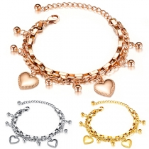 Fashion Heart Beaded Pendant Alloy Bracelet
