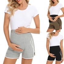 Fashion Contrast Color Elastic Waist Maternity Shorts