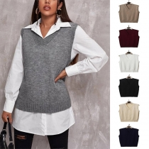 Simple Style Sleeveless V-neck Solid Color Knit Vest