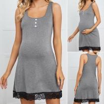 Casual U-neck Lace Spliced Hem Solid Color Sleeveless Maternity Dress