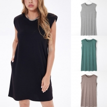 Simple Style Sleeveless Round Neck Solid Color Loose Dress