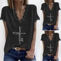 Fashion Lace Spliced Short Sleeve V-neck Solid Color Loose T-shirt