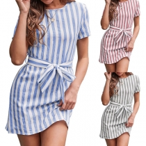 Casual Style Short Sleeve Round Neck Lace-up Striped Dress