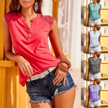 Fashion Lace Spliced Sleeveless Round Neck Solid Color Top T-shirt