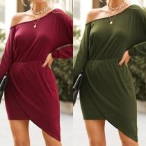 Sexy Oblique Shoulder Long Sleeve Irregular Hem Solid Color Dress