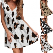 Casual Style Sleeveless V-neck Loose Printed Dress
