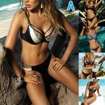 Sexy Low-waist Contrast Color Printed Spliced Bikini Set