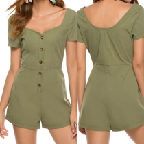 Fashion Solid Color Short Sleeve Square Collar Single-breasted High Waist Romper