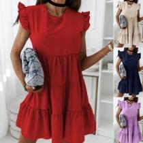 Simple Style Sleeveless Round Neck Ruffle Loose Dress
