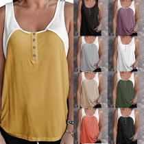 Casual Style Sleeveless U-neck Contrast Color Tank Top