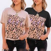Fashion Leopard Printed Spliced Short Sleeve Round Neck Loose Casual T-shirt