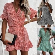 Fresh Style Short Sleeve V-neck Ruffle Hem High Waist Dress
