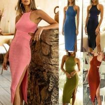 Sexy Backless Slit Hem High Waist Solid Color Slim Fit Sling Dress