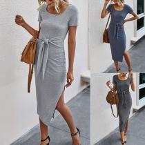 Fashion Solid Color Short Sleeve Round Neck Slit Hem Lace-up Slim Fit Dress