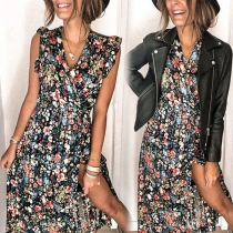 Sweet Style Sleeveless V-neck High Waist Slit Hem Printed Dress