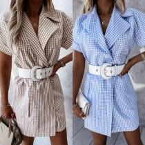 OL Style Short Sleeve Notched Lapel Plaid Dress
