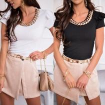 Chic Style Chain Spliced U-neck SHort Sleeve Slim Fit T-shirt