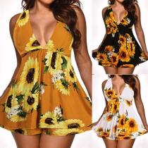 Sexy Backless Deep V-neck High Waist Sunflower Printed Romper