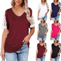 Fashion Lace Spliced Short Sleeve V-neck Side Wrinkled Hem Loose T-shirt