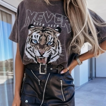 Cute Style Tiger Letters Printed Short Sleeve Round Neck Loose T-shirt