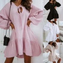 Fashion Solid Color Lantern Sleeve Lace-up V-neck Ruffle Hem Loose Dress