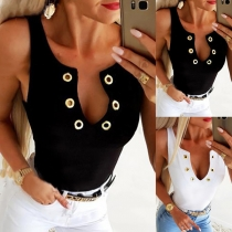 Sexy Keyhole V-neck Sleeveless Solid Color Slim Fit Tank Top
