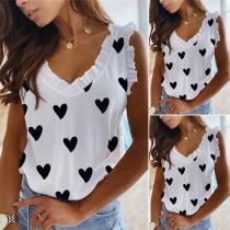 Sweet Style Sleeveless V-neck Heart Printed Ruffle Top