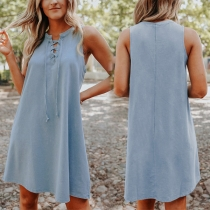 Simple Style Sleeveless Lace-up V-neck Solid Color Loose Dress