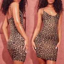 Sexy Backless Leopard Printed Slim Fit Sling Dress for Pregnant Woman