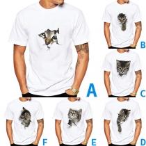 Cute 3D Cat Printed Short Sleeve Round Neck Man's T-shirt
