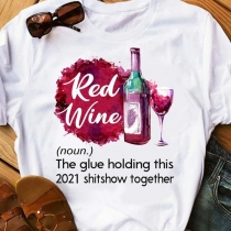 Casual Style Letters Red Wine Beer Printed Short Sleeve Round Neck T-shirt