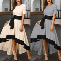 Elegant Short Sleeve Round Neck High Waist High-low Hem Contrast Color Dress