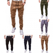 Casual Style Solid Color Drawstring Elastic Waist Side-pocket Pants