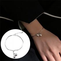 Simple Style Bell Pendant Silver-tone Bracelet