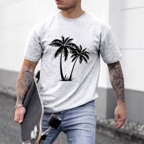 Casual Style Short Sleeve Round Neck Coconut Tree Printed Man's T-shirt