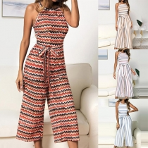 Sexy Off-shoulder High Waist Colorful Striped Printed Wide-leg Jumpsuit