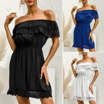 Sexy Lace Spliced Ruffle Boat Neck Elastic Waist Solid Color Dress
