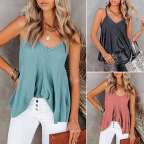 Sexy V-neck Solid Color Loose Sling Top
