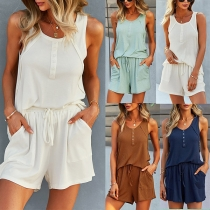 Casual Style Sleeveless Round Neck Solid Color Top + Shorts Home-wear Set