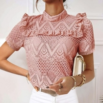 Sweet Style Short Sleeve Mock Neck Solid Color Ruffle Top