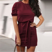 Fashion Solid Color Short Sleeve Round Neck Lace-up Dress