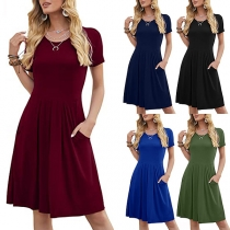 Elegant Solid Color Short Sleeve Round Neck High Waist Dress