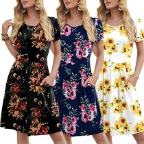Fashion Short Sleeve Round Neck High Waist Printed Dress