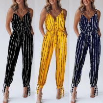 Sexy Backless V-nekc High Waist Striped Printed Sling Jumpsuit