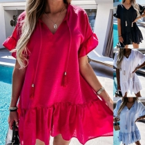 Casual Style Short Sleeve V-neck Ruffle Hem Solid Color Loose Dress