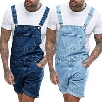Retro Style Middle Waist Relaxed-fit Man's Denim Shorts Overalls