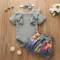 Sweet Style Bow-knot Ruffle Romper + Printed Shorts Two-piece Set for Babies