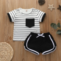 Simple Style Short Sleeve Round Neck Stripe T-shirt + Shorts Two-piece Set for Babies