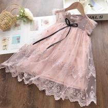 Sweet Style Sleeveless Round Neck Gauze Spliced Embroidery Princess Dress for Kids
