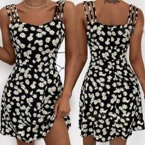 Fresh Style Backless High Waist Daisy Printed Sling Dress